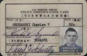 Police Identification card U.S. Army